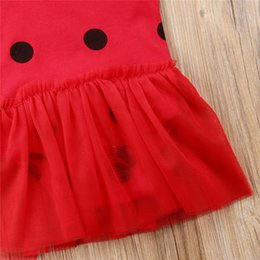 girls butterfly party dress UK - Baby Girl Bodysuit Newborn Toddler Baby Girls Princess Romper Dress Hat Red Cute Ladybug Set Party Costumes Fashion Girl Dress