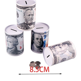 dollar glasses Canada - Novelty Banknote Printed Metal Tinplate Cylinder Piggy Bank Household Euro Dollar Picture Money Saving Box Home Decoration