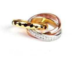 Wedding Ring Gold 18k Diamond Australia - Fashion Women 316L Titanium steel 3 Circles 3 Color 3in1 Diamond Leopard Print Wedding Engagement 18K Gold Plated Combined Rings Size6-9