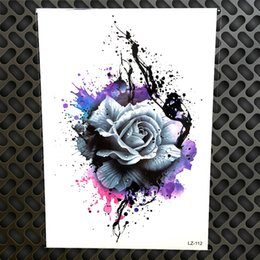 $enCountryForm.capitalKeyWord Australia - 3D Watercolor Purple Rose Henna Temporary Tattoo Stickers Women Men Body Art Large Arm Chest Tattoo Fake Flash Flower Tatoo Sexy