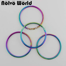 iron handles NZ - 1 piece test, inner width 9cm, rainbow metal O ring bag handle iron wire circle women handbag hand pull diy accessories