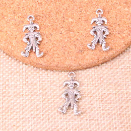 $enCountryForm.capitalKeyWord NZ - 63pcs Antique Silver Plated clown joker jester Charms Pendants fit Making Bracelet Necklace Jewelry Findings Jewelry Diy Craft 25*12mm