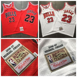 Wholesale unisex basketball shorts for sale – plus size Men ChicagoBulls Mitchell Ness White Red HardwoodClassics Authentic Player Jersey NBA basketball jersey