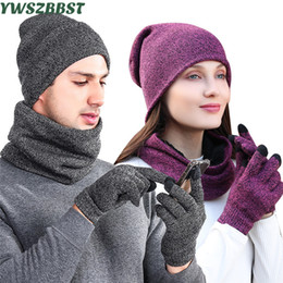 d4fad5f38e6 Fashion Knitted Men Outdoor Beanie Plus Velvet Women Hat Scarf Glove Sets  Autumn Winter Men Warm Scarf Hat Glove Women Hats Caps