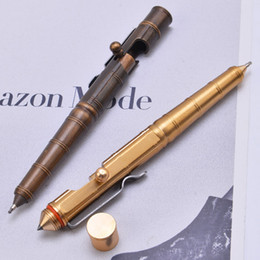$enCountryForm.capitalKeyWord Australia - Handmade Retro Brass Packet Action Bolt Type Tactical Pen Bamboo Signature Pen Broken Windows Outdoor Self defense Gear EDC