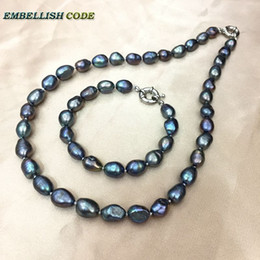 $enCountryForm.capitalKeyWord Canada - selling well dark Peacock blue wonderful baroque Irregular natural cultured pearls choker necklace bracelet set for girl women