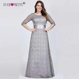 $enCountryForm.capitalKeyWord Australia - Elegant Plus Size Evening Dresses Long 2019 Ever Pretty Ep08878gy A-line Lace Half Sleeve Grey Formal Party Gowns For Wedding Y19051401