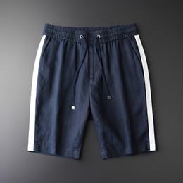 a45eed6ab5 Minglu Mens Linen Shorts Plus Size 4xl Side White Ribbon 100% Linen Thin Men  Summer Shorts Luxury Knee Length Men Short Pants