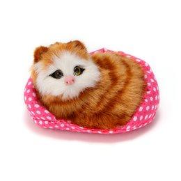 Mini Cat Cars UK - Car Ornaments Plush Sounding Simulation Mini-nest Cat Decoration Kids Toy Cute Kitten Automobile Interior Decor Accessories Gift