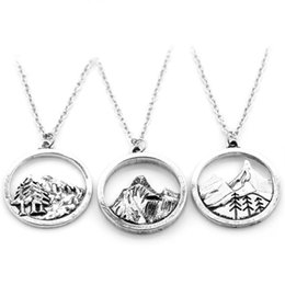 Necklaces Pendants Australia - whlesale Lovely round pendant Pine Tree charm under the mountain necklace camping jewelry Outdoor Jewelry Gifts