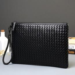 Hand pocket organizer online shopping - Woven Pattern Leather Envelope Clutch Bag Black With Wristlet Hand Caught Handbag Business Black Organizer Wallet for Men or Women
