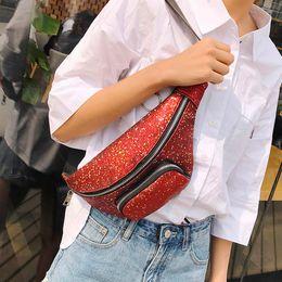 Solid Pack Australia - Sequins Leather Fanny packs Women Fashion Sequins Leather Solid Travel Messenger Shoulder Chest Waist Bag deporte #620