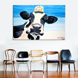 Art Canvas Prints Australia - 1 Piece Cute Cow With Hat Wall Decorative Pictures Prints And Posters Canvas Painting For Living Room Home Decor Wall Art No Frame