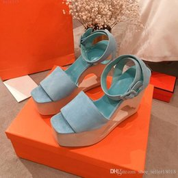 $enCountryForm.capitalKeyWord NZ - Velvet leather high-heeled sandals for women,Super thick platform shoes, Women's fashion cut-out wedge sandals