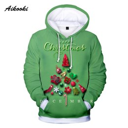 Cool Christmas Gifts Men Australia - Aikooki 3D Merry Christmas Hoodies Sweatshirts Happy Christmas Party Gift Men Women Fashion Cool Hoodie Polluvers Green Design