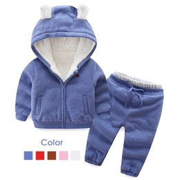 cartoon tracksuits NZ - Autumn Winter Boys Girls Clothes Set Children Plus Velvet Suits Casual Warm Thicken Cartoon Bear Outfits Tracksuit Clothing 2-6T CJ191129