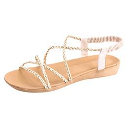 828d3a2e18b74f MUQGEW Women Fashion Flat sandals Sexy Open Toe Bandage Sandals Bohemian Beach  Casual Morden Shoes Woman
