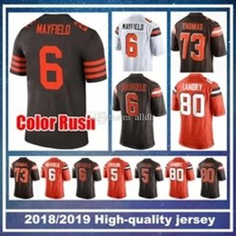 391b518c3 Cleveland 6 Baker Mayfield Browns 21 Denzel Ward Jersey 80 Jarvis Landry 95  Myles Garrett 73 Thomas 5 Tyrod Taylor 22 Jabrill Peppers Chubb