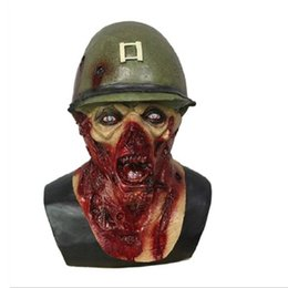 Discount zombie masks - Hot Selling Army Captain Leister Yelling Rotted Zombie Helmet Halloween Zombie Mask