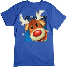 Reindeer Nose Australia - Rudolph Red Nosed Reindeer Snowflakes - Holiday Christmas Wholesale Tee Shirt Tee Shirt Men Boy High Quality Short Sleeve Custom XXXL Group