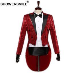 $enCountryForm.capitalKeyWord Australia - Showersmile Sequin Jacket Long Blazer Men Red Swallow-tailed Coat Stage Singer Magician Suit Jacket Brand 3xl Tuxedo Blazer Y190420