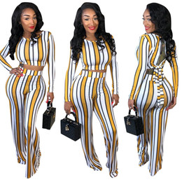 long legs clothing NZ - 2 Two Piece Set Top And Pants Back Bandage summer Outfits Tracksuit Women Long Sleeve Wide Leg Pants Striped Print Clothes