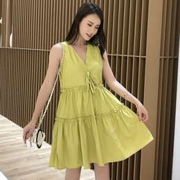 women style pregnant dress Canada - Summer Maternity Sudress Solid Color V-neck Sleeveless Ruffles Patchwork Pregnant Women Fashion Cotton Dress Preppy Style Dress
