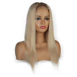 black blonde ombre wig NZ - Ombre Platinum Blonde Wigs #8#60 Lace Front Human Hair Wigs For Black Women Brazilian Remy Straight Full Lace Wigs