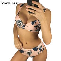 Pink Body Suits Australia - Pink Print Female Swimsuit High Waist Bikini 2019 Women Swimwear Two-pieces Bikini set Push Up Bather Bathing Suit Swim V958
