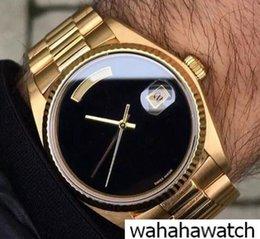 Luxury Big Face Watches Men Australia - luxury brand watch men automatic rolix 36MM DAY DATE Big Black face Mechanics men's watches Sapphire original 18K Gold Stainless steel clasp