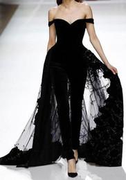 Fashion Short Black Dresses Australia - 2019 New Arrivals Off the Shoulder Women's Fashion Evening Dresses Jumpsuit With Tulle Black Velvet Prom Dresses Special Occasion Wears