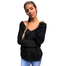 Long Sleeve Black Lace Tee Australia - New Fashion Women Sexy Backless T-Shirt V Neck Long Sleeve Eyelash Lace Splice Casual Party Top Tee White Black