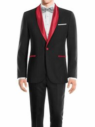 $enCountryForm.capitalKeyWord Australia - New Arrival Groom Tuxedos Black Groomsmen Shawl red Lapel Best Man Suit Wedding Men Suits Bridegroom ( Jacket+Pants+Tie ) A877