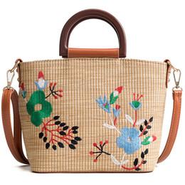 Crochet Tassel Bag NZ - Hand Woven Beach Bag Embroidery Floral Totes Large Bucket Summer Bags Women Lady Handle Handbag Tassel Strap Shoulder Cross body bags INS