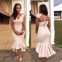 Wholesale New Sexy African Mermaid Bridesmaid Dresses V Neck Lace D Appliques Beads Flower Button Back Sash High Low Length Maid of Honor Gowns