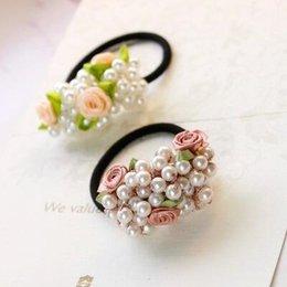 girls flower hair rings 2019 - korean fashion flower pearl hair ring women girls elastic hair rubber bands accessories for women ties rope ring scrunch