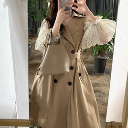polka dot trench Canada - Polka Dot Chiffon Sleeve Patchwork Woman Coat Autumn New High Fashion Women Classic Trench Coat Khaki Korean Long Women