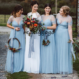 Short Bohemian Bridesmaid Dress White Australia - Ice Blue Long Bohemian Country Bridesmaid Dresses 2019 Sheer Neck Lace Tulle Short Sleeve Junior Wedding Party Guest Gown