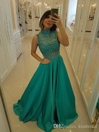 $enCountryForm.capitalKeyWord NZ - Elegant High Neck Green Prom Dresses Sheer Bead Lace Evening Gowns Sexy See Through Cocktail Party Ball Red Carpet Dress Custom Made