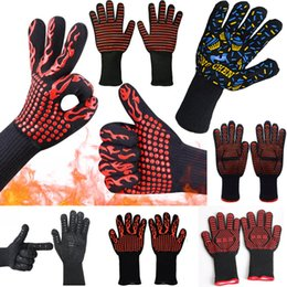 BBq glove online shopping - 500 Celsius Heat Resistant Gloves Great For Oven BBQ Baking Cooking Mitts In Insulated Silicone BBQ Gloves Baking Pastry Tools WX9