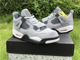 cool shoes for basketball NZ - 2019 Release Air Cool Grey 4 For Men Basketball Shoes Chrome Dark Retro Charcoal Varsity Maize 308497-007 Authentic Sports Shoes With Box