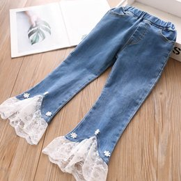 girls skinny jeans Australia - New Lace girls jeans girls fall boutique clothing kids designer clothes girls flared trousers kids Jeans denim Skinny Jeans pants A7909