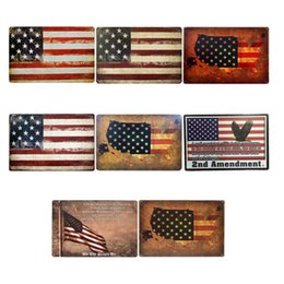 Wholesale usa poster for sale – custom USA Flag Tin Signs Metal Vintage Posters Old Wall Metal Plaque Club Wall Home Art Metal Painting Wall Decor Art Picture Party Decor