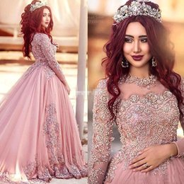 Red Ball Gown Long Prom Dresses Australia - 2019 Ball Gown Long Sleeves Evening Dresses Princess Muslim Prom Dresses With Sequins Red Carpet Runway Dresses Custom Made