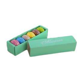 Cupcake Making Australia - Macaron Box Cake Boxes Home Made Macaron Chocolate Boxes Biscuit Muffin Box Retail Paper Packaging 20.3*5.3*5.3cm Black Pink Green White