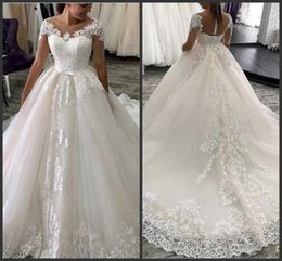 Lace castLe online shopping - Wedding Dresses With Lace Appliques Sheer Jewel Neck Illusion Half Sleeve Sash Court Train Tulle Wedding Bridal Gowns