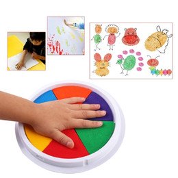 Kids Craft Stamps Australia - Funny 6 Colors Ink Pad Stamp DIY Finger Painting Craft Cardmaking Large Round For Kids Learning Education Drawing Toys 3 Pcs Wholesale
