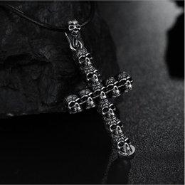 $enCountryForm.capitalKeyWord Australia - Hot Unisex's Men Charm Stainless Steel Black Silver Skull Cross Pendant Necklace Chain Fashion Jewelry Gift