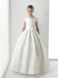 $enCountryForm.capitalKeyWord Australia - New Arrival Flower Girl Dress First Communion Dresses For Girls Short Sleeve Belt With Flowers Customized