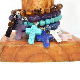 $enCountryForm.capitalKeyWord NZ - Cross Pendant Bracelet 8MM Quartz Natural Stone Aura Fashion Accessories Unisex Silver Bracelet Women's Holiday Gift Cuff Bracelet